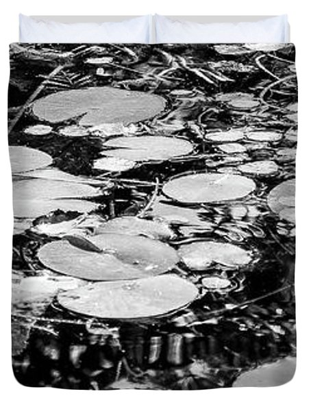 Lily Pads, Black And White Duvet Cover