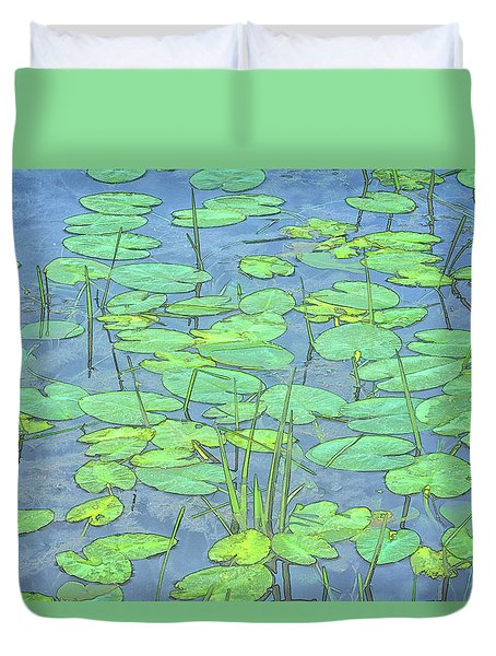Lily Pads -coloring Book Effect Duvet Cover by Constantine Gregory