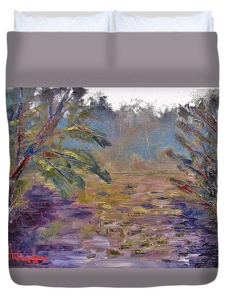 Lily Pads On A Pond, Overcast Sky 3pm Duvet Cover