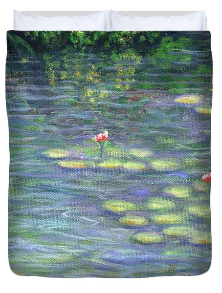 Lily Pads Triptych Part Three Duvet Cover by Linda Mears