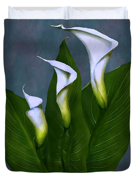 Duvet Cover featuring the painting White Calla Lilies by Peter Piatt