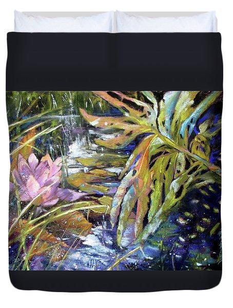 Lily Pond Light Dance Duvet Cover by Rae Andrews