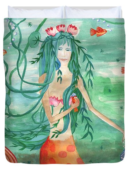 Lily Pond Mermaid With Goldfish Snack Duvet Cover by Sushila Burgess