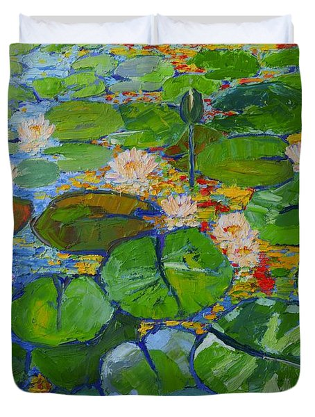 Lily Pond Reflections Duvet Cover by Ana Maria Edulescu