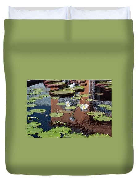 Lily Pond Reflections Duvet Cover by Suzanne Gaff