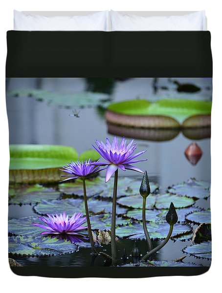 Lily Pond Wonders Duvet Cover by Maria Urso