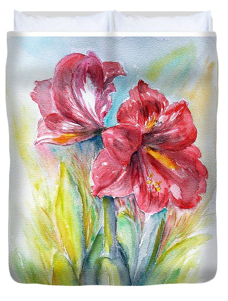 Lily Red Duvet Cover by Jasna Dragun