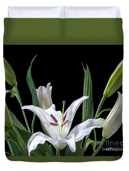 Duvet Cover featuring the photograph A White Oriental Lily Surrounded by David Perry Lawrence