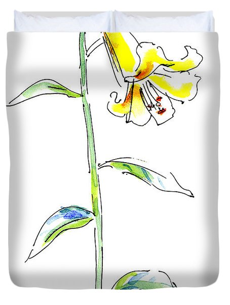 Lily Watercolor Painting 2 Duvet Cover