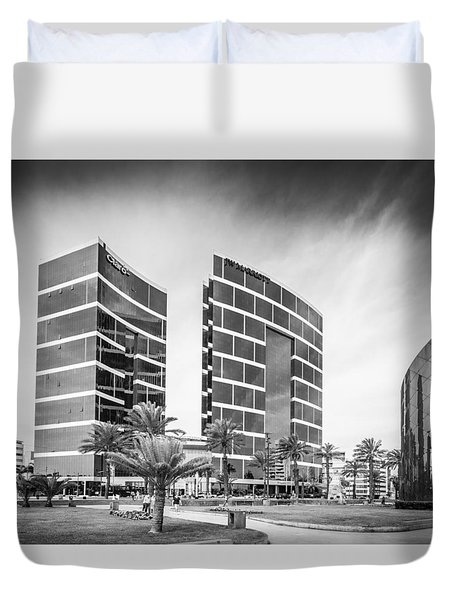 Duvet Cover featuring the photograph Lima Buildings by Gary Gillette