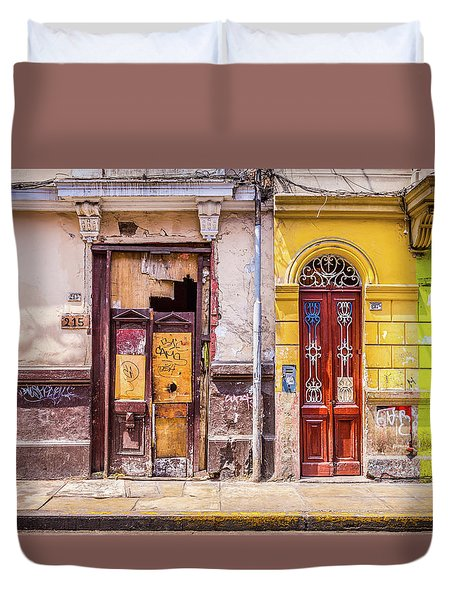Duvet Cover featuring the photograph Lima City Doors by Gary Gillette