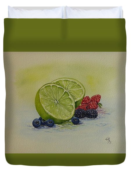 Lime And Berries Duvet Cover