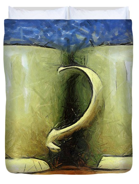 Lime Green Cups Duvet Cover by Paulette B Wright