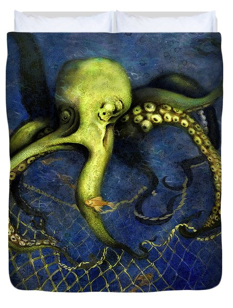 Lime Green Octopus With Net Duvet Cover
