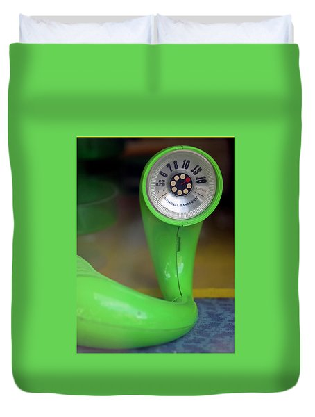 Duvet Cover featuring the photograph Lime Green Twisted Radio by Matthew Bamberg