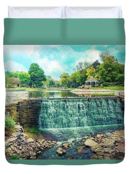 Lime Kiln Park Waterfall Duvet Cover