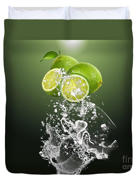 Lime Splash Duvet Cover by Marvin Blaine