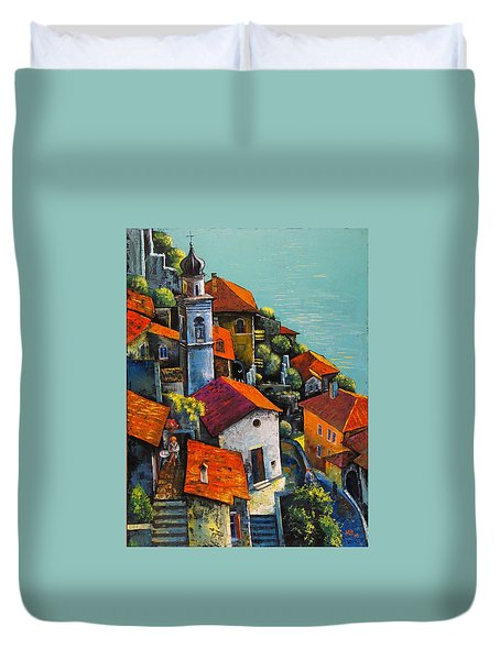 Duvet Cover featuring the painting Limone Del Garda by Mikhail Zarovny