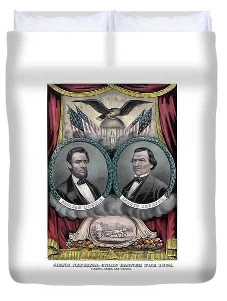 Lincoln And Johnson Election Banner 1864 Duvet Cover