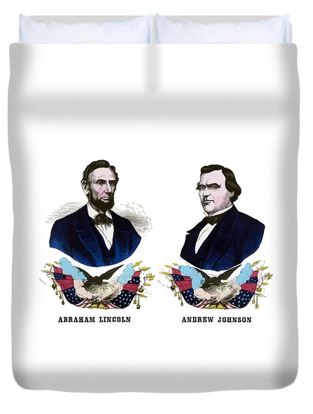 Lincoln And Johnson Campaign Poster Duvet Cover
