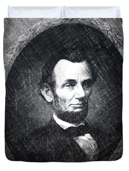 Lincoln Bw Portrait Duvet Cover