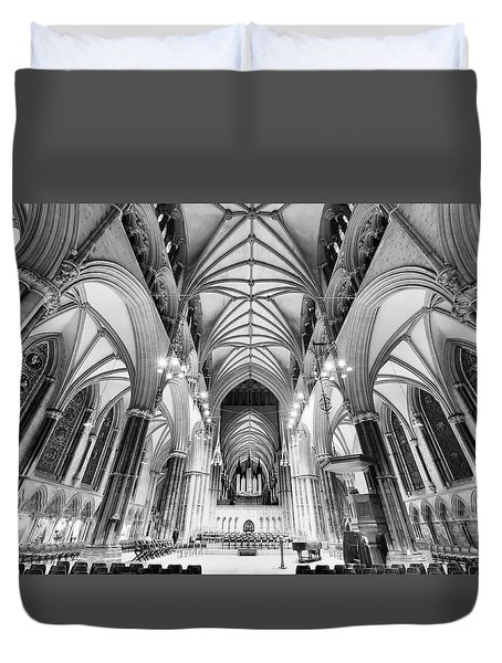 Lincoln Cathedral Bw Duvet Cover by Jack Torcello