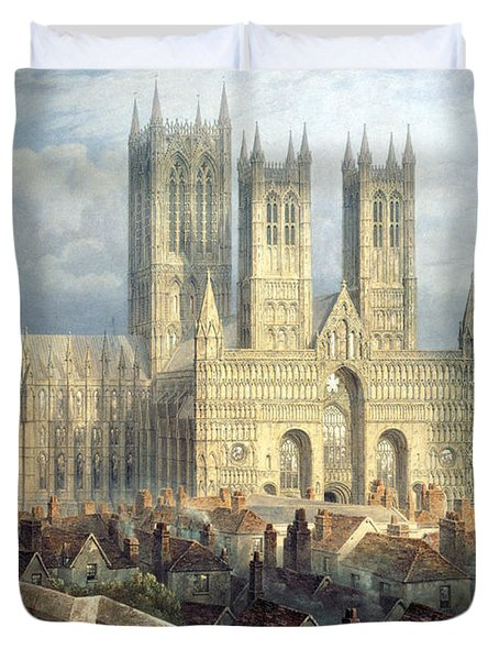 Lincoln Cathedral From The North West Duvet Cover by Frederick Mackenzie