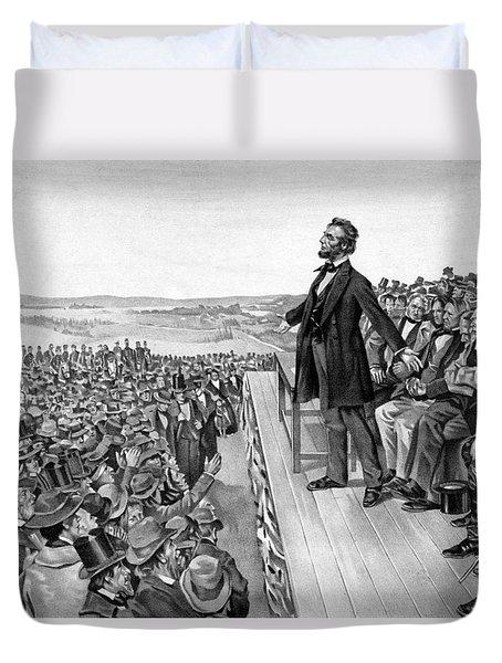 Lincoln Delivering The Gettysburg Address Duvet Cover