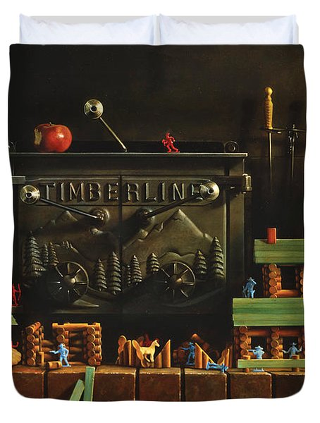 Lincoln Logs Duvet Cover by Greg Olsen