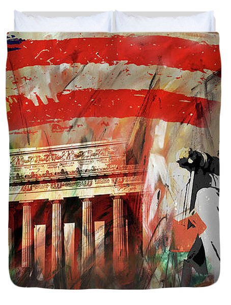 Lincoln Memorial And Lincoln Statue Duvet Cover by Gull G