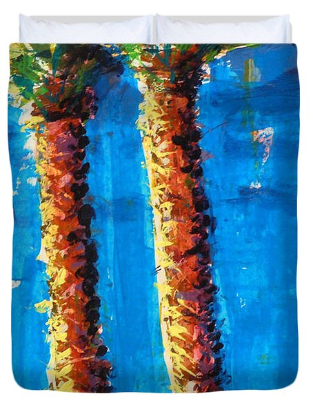 Lincoln Rd Date Palms Duvet Cover