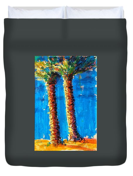 Lincoln Rd Date Palms Duvet Cover