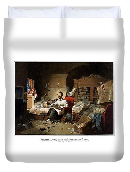 Lincoln Writing The Emancipation Proclamation Duvet Cover