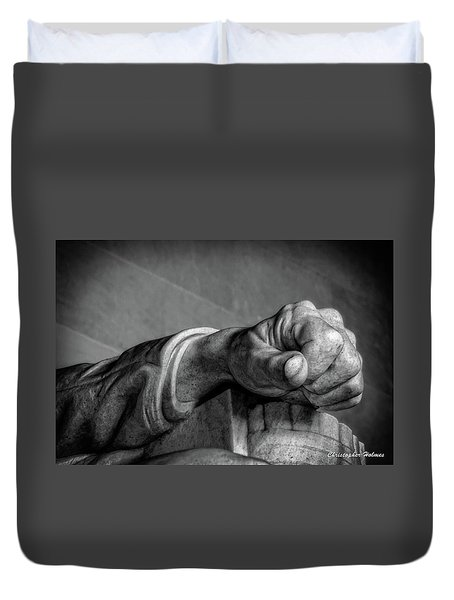 Lincoln's Left Hand B-w Duvet Cover by Christopher Holmes
