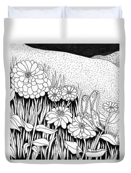 Duvet Cover featuring the painting Linda's Garden by Lou Belcher
