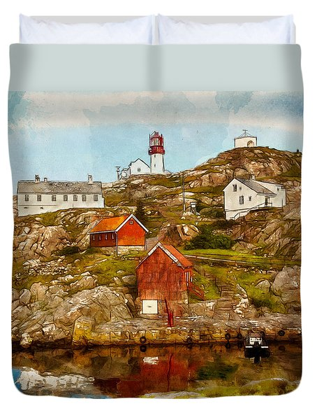 Duvet Cover featuring the painting Lindesnes Lighthouse by Kai Saarto