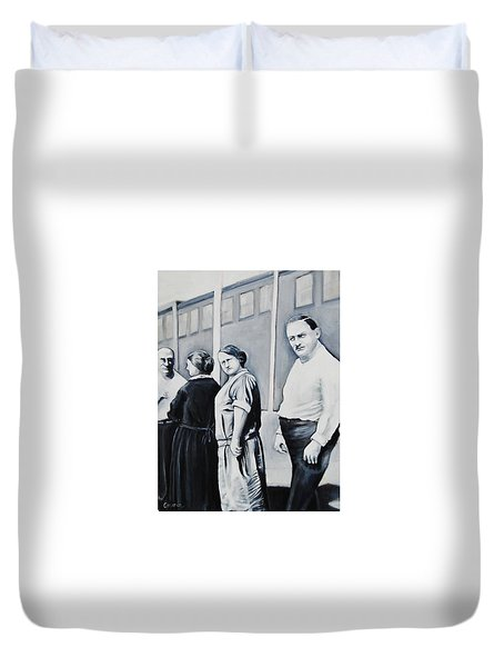 Line Of Peculiar People Duvet Cover by Jean Cormier
