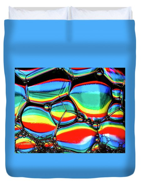 Duvet Cover featuring the photograph Lined Bubbles by Jean Noren