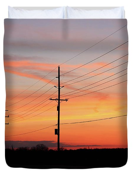 Lineman's Sunset Duvet Cover by Rachel Cohen