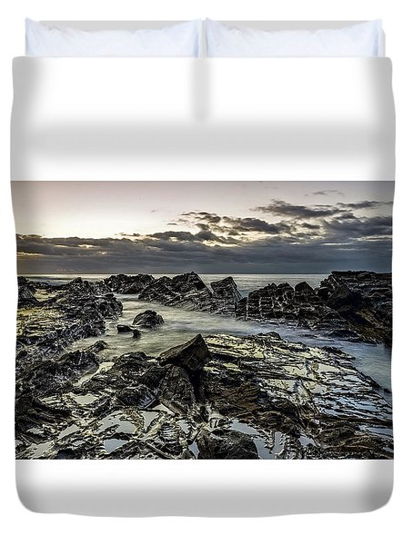 Lines Of Time Duvet Cover by Mark Lucey
