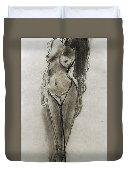 Duvet Cover featuring the painting Lingerie Elegance by Jarko Aka Lui Grande