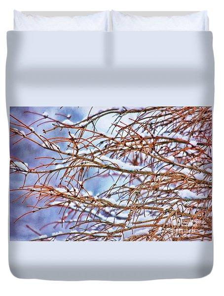 Lingering Winter Snow Duvet Cover