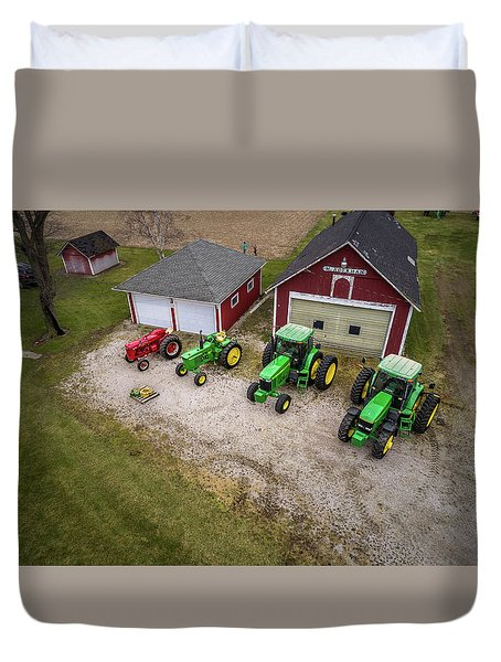 Lining Up The Tractors Duvet Cover