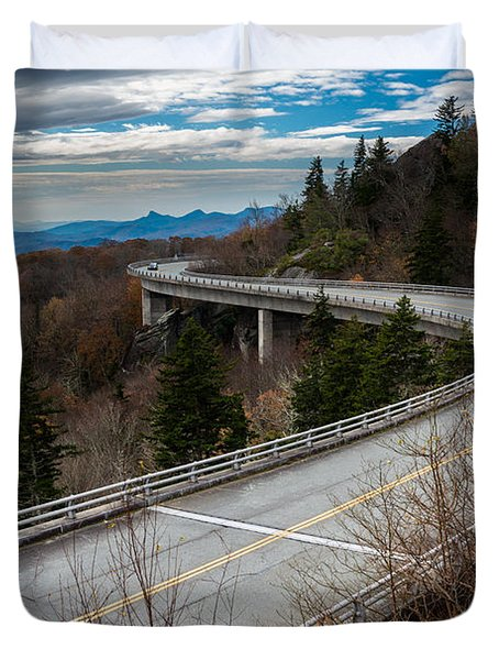 Linn Cove Viaduct Late Fall Duvet Cover