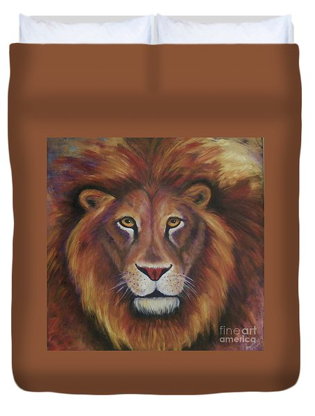 Duvet Cover featuring the painting Lion 2017 by Alga Washington