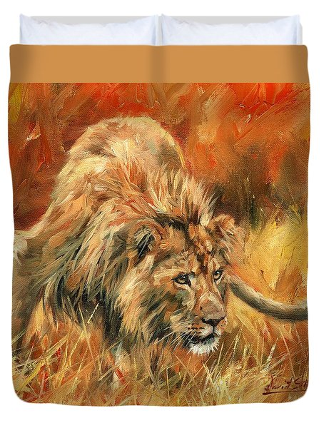 Duvet Cover featuring the painting Lion Alert by David Stribbling