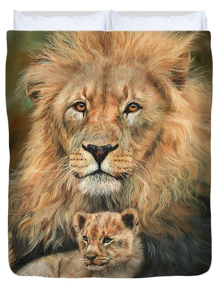 Lion And Cub Duvet Cover