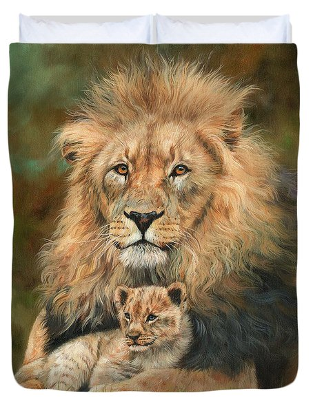 Duvet Cover featuring the painting Lion And Cub by David Stribbling