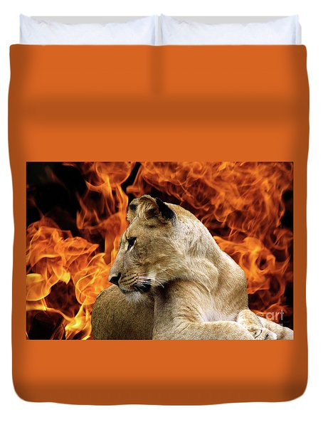 Lion And Fire Duvet Cover