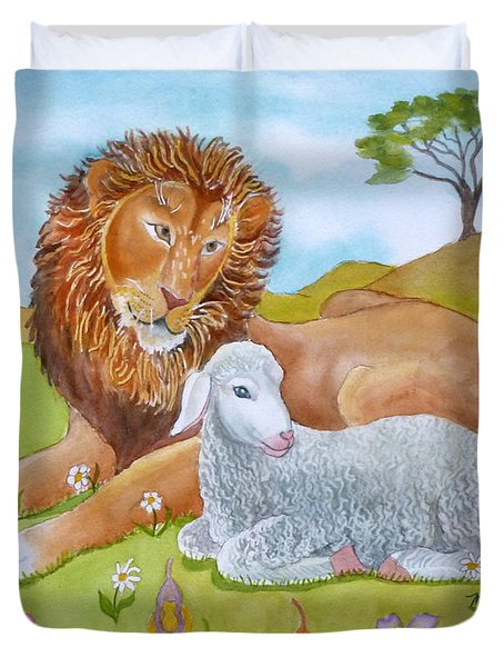 Lion And Lamb In A Meadow Duvet Cover